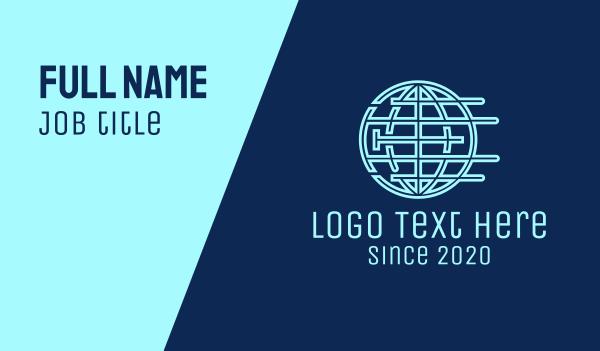 world map - Blue Global Company Business card horizontal design