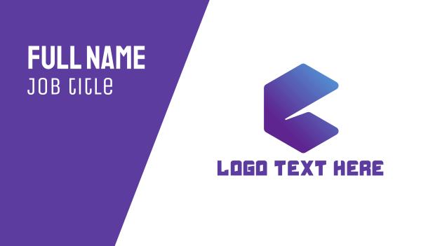 blue hexagon - Abstract Letter E Business card horizontal design