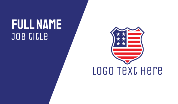 shield - American Badge Business card horizontal design