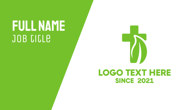 pharmacist - Organic Leaf Cross Business card horizontal design