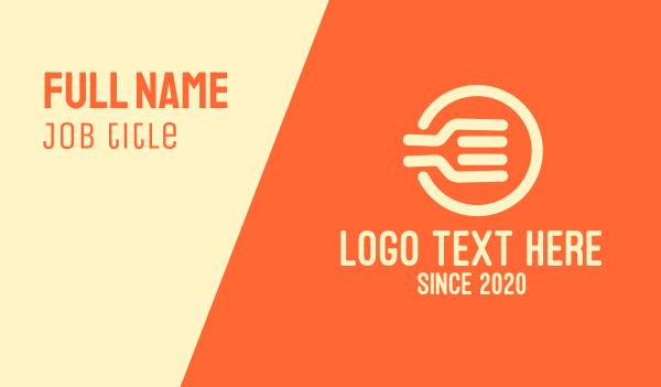 food service - Orange Fork Circle Business card horizontal design