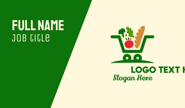 vegetables - Grocery Shopping Cart  Business card horizontal design