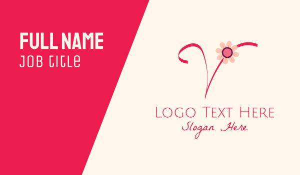 blooming - Pink Flower Letter V Business card horizontal design