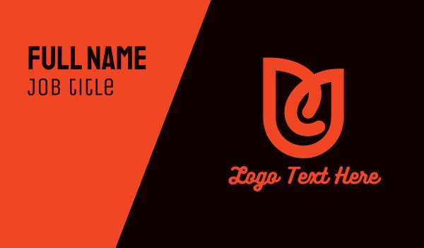 letter u - Orange Flower U Business card horizontal design