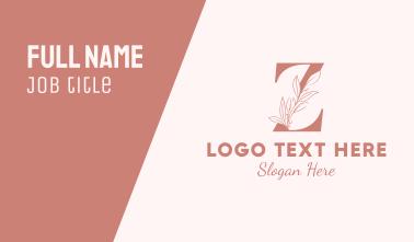 Elegant Leaves Letter Z Business Card