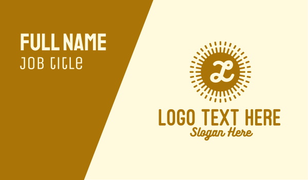 sunlight - Gold Sun Lettermark  Business card horizontal design