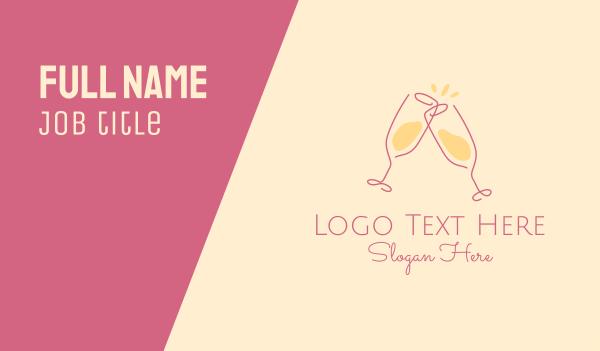 wine - Champagne Glass Toast Business card horizontal design