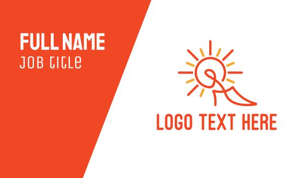 orange sun - Abstract Stiletto Outline  Business card horizontal design