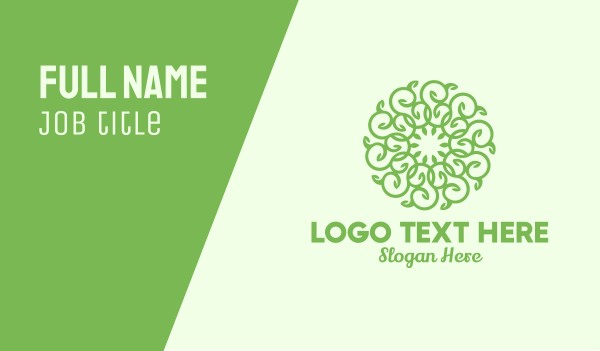 twig - Rounded Vine Wreath Business card horizontal design