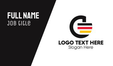German Flag Letter G  Business Card