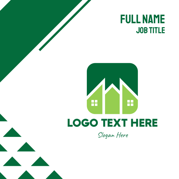 Green Pointed House Business Card