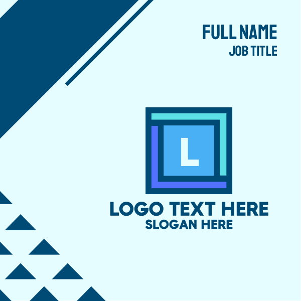Blue Square Lettermark Business Card