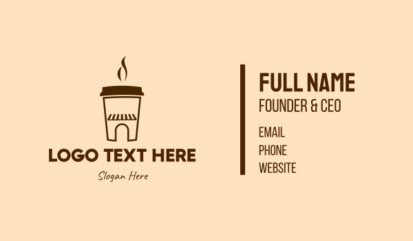 brewed - Brown Coffee House Business card horizontal design
