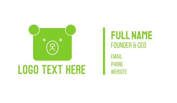 panda - Green Bear Square Business card horizontal design