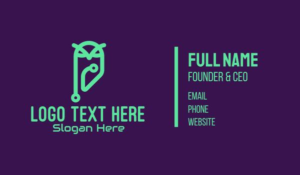 online education - Green Tech Owl Business card horizontal design