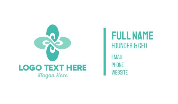 peace of mind - Green Wellness Flower Business card horizontal design