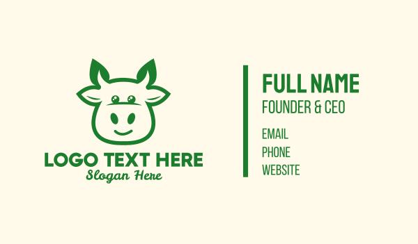 cow head - Organic Cow Farm Business card horizontal design