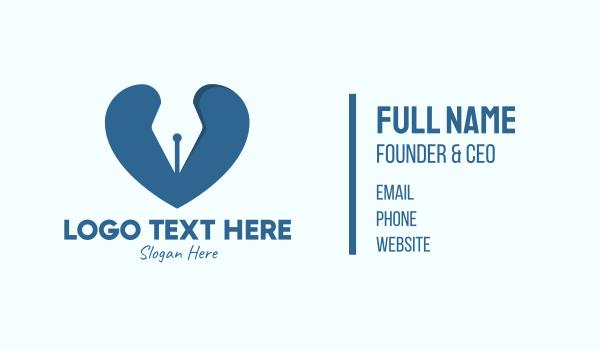 passion - Blue Writer Heart Business card horizontal design