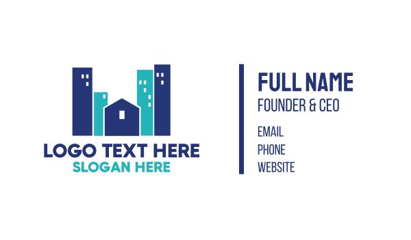 blue city - Blue Town Business card horizontal design