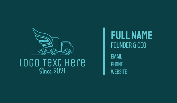 delivery van - Blue Delivery Van Business card horizontal design