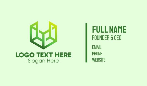 cube - Digital Green Cube Business card horizontal design