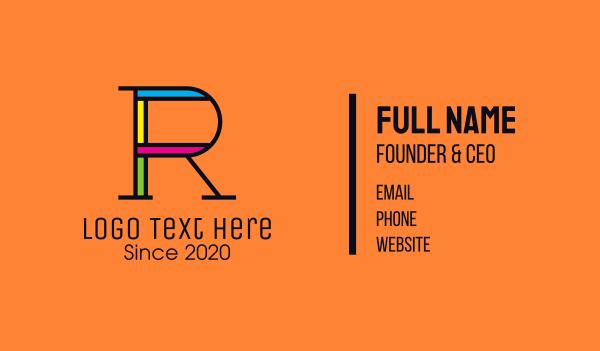 digital print - Colorful Letter R Business card horizontal design