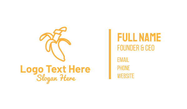 yellow banana - Yellow Stroke Banana Business card horizontal design