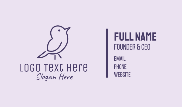 kids fashion - Small Purple Bird  Business card horizontal design