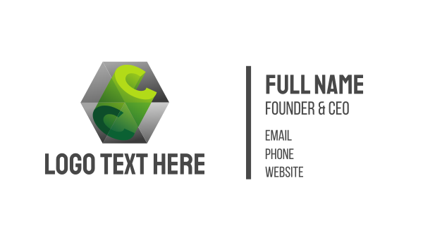 dice - 3D C Cube Prism Business card horizontal design