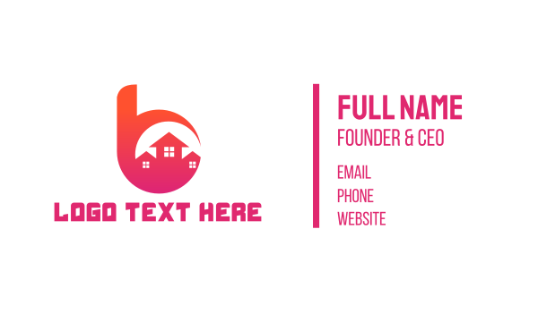 village - Pink B Housing Business card horizontal design