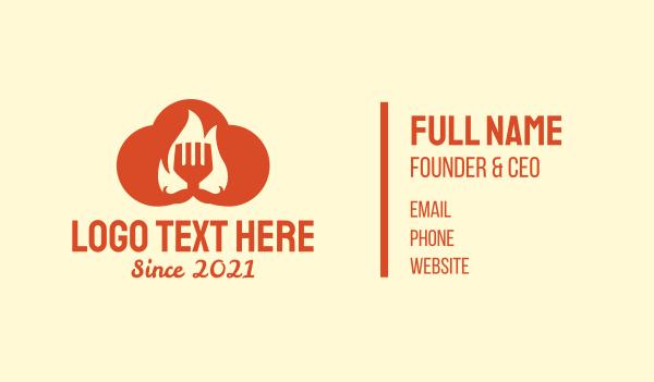 food service - Orange Cloud Cooking Business card horizontal design