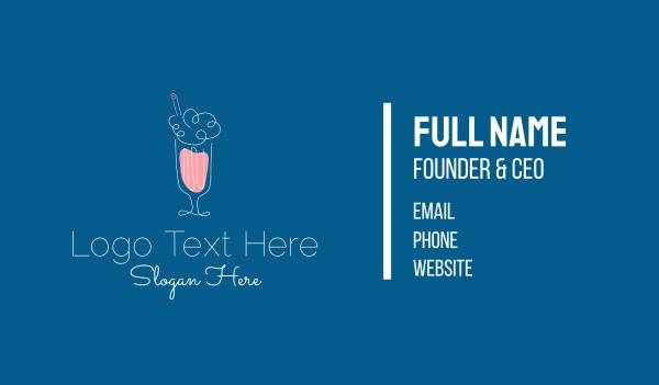 sundae - Minimalist Ice Cream Milkshake Business card horizontal design
