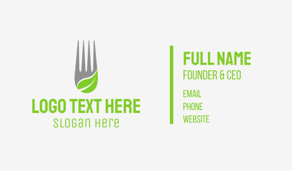 health and wellness - Leaf Fork Business card horizontal design