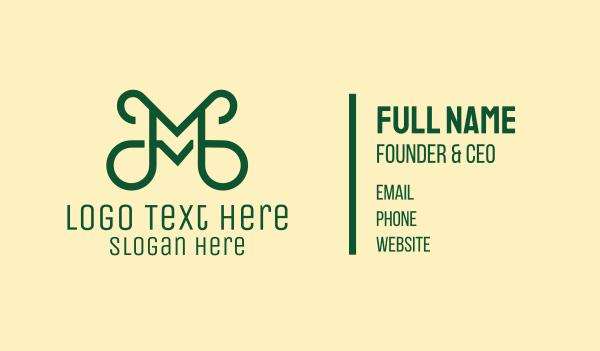 detailed - Creative Green Letter M Business card horizontal design