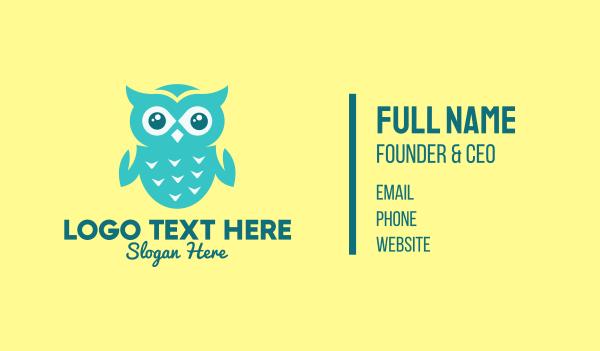 owl - Baby Green Owl Business card horizontal design