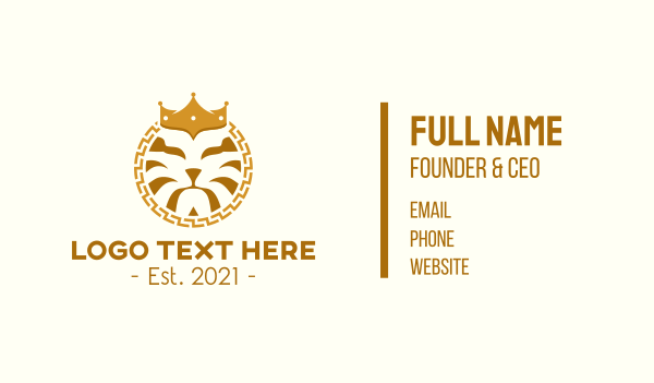 safari park - Lion Head Crown  Business card horizontal design