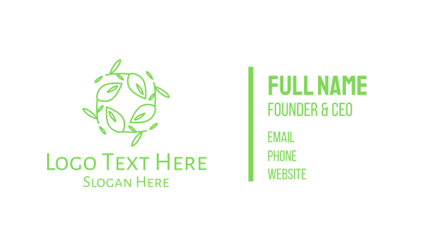 natural therapy - Green Stroke Leaves Wreath Business card horizontal design
