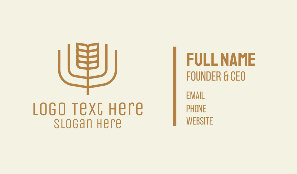 granary - Brown Minimalist Wheat Business card horizontal design