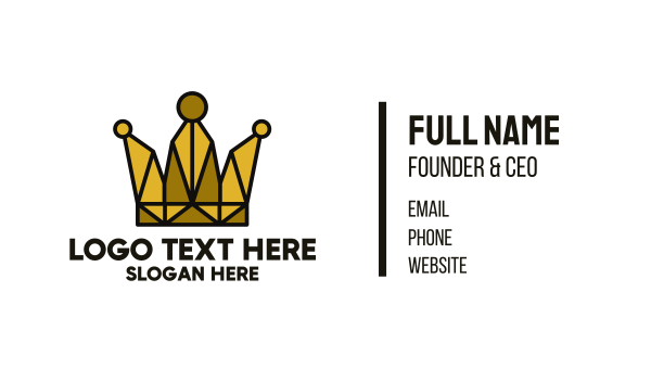 treasure - Gold Polygon Crown Business card horizontal design