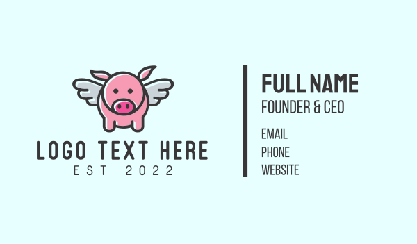pork restaurant - Cute Flying Pig Business card horizontal design