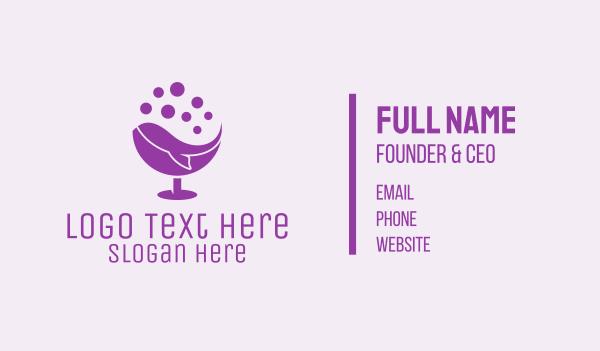 wine glass - Purple Whale Drink Bubbles Business card horizontal design