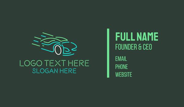 auto parts - Neon Fast Car Business card horizontal design