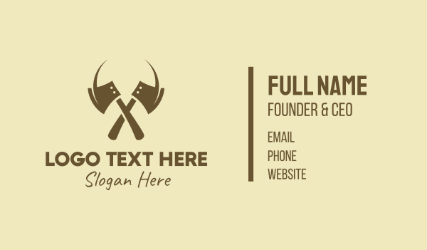 carpentry - Brown Axe Weapon Business card horizontal design