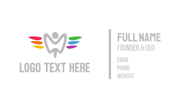 dental - Colorful Tooth Angel Business card horizontal design