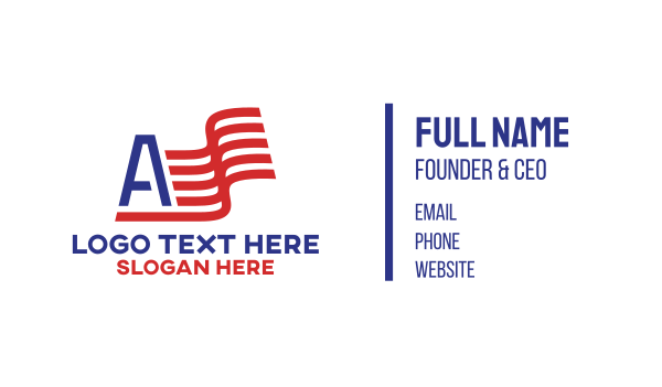 north america - Letter A Flag American Business card horizontal design