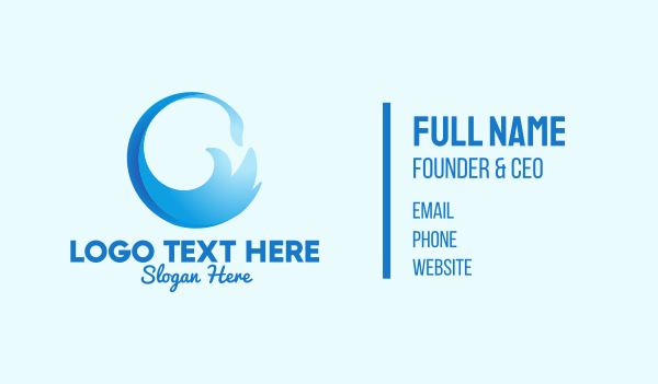 drinking water - Blue Surf Wave  Business card horizontal design