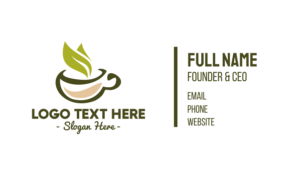 green and brown - Green Tea Leaf Business card horizontal design