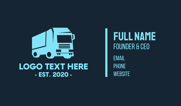cargo delivery - Cargo Trailer Transportation Business card horizontal design