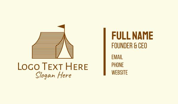 carnival - Rustic Camp Tent Business card horizontal design