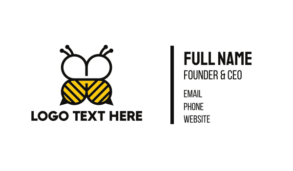 yellow bee - Abstract Bee Business card horizontal design